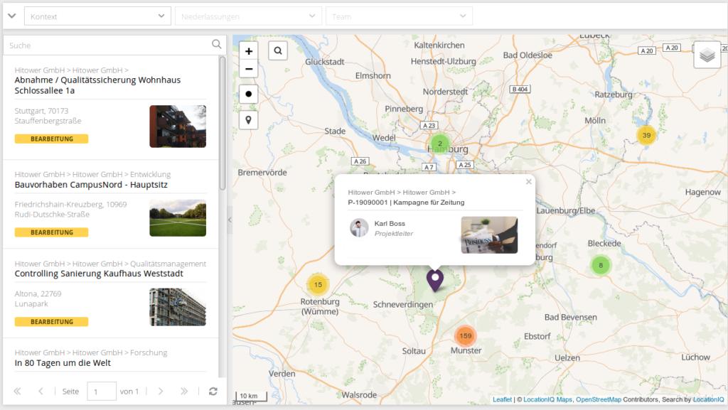 Durch Projektmapping kannst du dir die einzelnen Projektstandorte anschauen und auswerten.